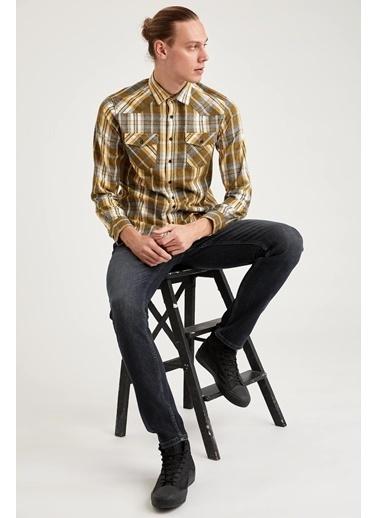 DeFacto Ekose Slim Fit Uzun Kollu Oduncu Gömlek Sarı